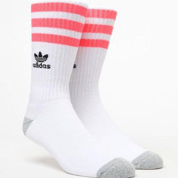 DCCKYB5 adidas Roller White & Pink Crew Socks