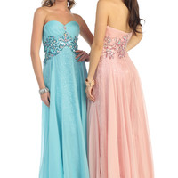 Homecoming Sweetheart Strapless Pleated Chiffon Beaded Jewels Formal Long Gown