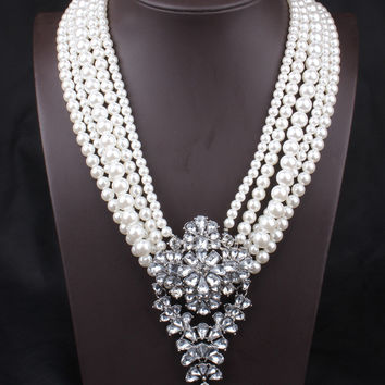 Shiny Gift Jewelry New Arrival Stylish Pearls Diamonds Pendant Vintage Necklace [6057612545]
