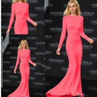 Leshery Elegant Women Long Sleeve Gown Cocktail Party Dress Formal Long Evening Gown Rosy