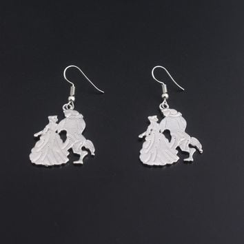 Silver Plated Beauty and the Beast Earrings for Women Fashion Movie Jewelry Pendientes Mujer Moda Hot Sell Drop Earrings