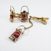 Red Lantern Cufflinks and Tie Clip Unique Lanterns with Red Centrs, Tie clip has Dangling lantern Vintage 1950s 1960s Novelty Mens Jewelry