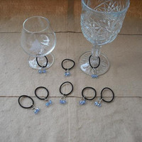 Set of 20 Wine Charms,each with Blue Glass Swarovski Crystal and Chain.