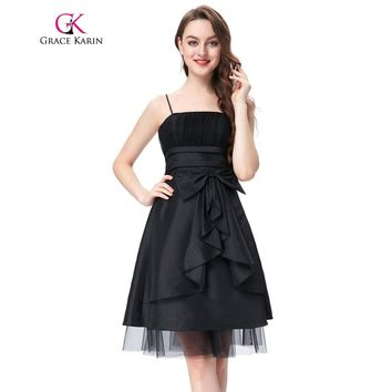 Grace Karin Cocktail Dress Short Party Dress Women Taffeta Robe De Cocktail Spaghetti Straps Black Red Special Occasion Dress