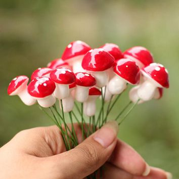 10X Mini Red Mushroom Micro Fairy Garden Decor Ornament Bonsai DIY Craft Fashion