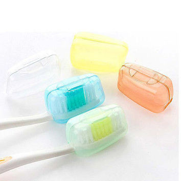 Travel Camping Toothbrush Head Holder Protect Brush Cap Clean Box Case Cover