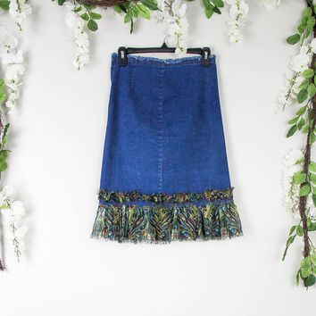 Vintage Fringe High Waisted Denim Skirt