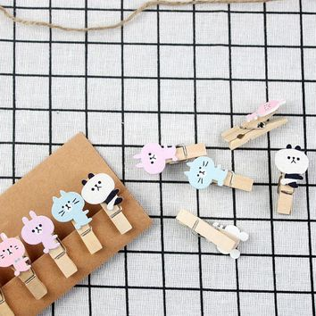 10 pcs/lot new listing cartoon Wood Clip Kawaii Photo paper Clothespin Craft Clips Party decoration DIY Clips with Hemp Rope