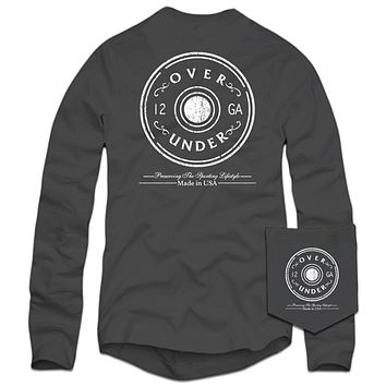 Long Sleeve Antique Shot Shell T-Shirt in Charcoal by Over Under Clothing