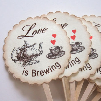 Love is Brewing Cupcake Toppers, Teapot and Teacup Cupcake Picks