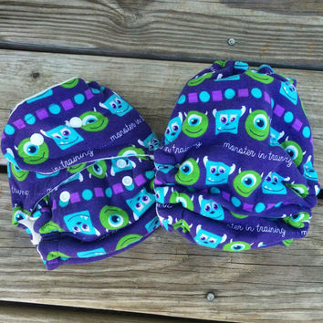 OS Hybrid fitted diaper, Monsters Inc diaper, cloth diaper, fitted cloth diaper
