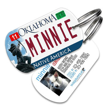 Oklahoma License Plate Pet Tag - Personalized Pet ID Tags, Custom Dog Tags, Cat ID Tag, Dog Name Tags, Dog Tags for Dogs, Dog License Tags