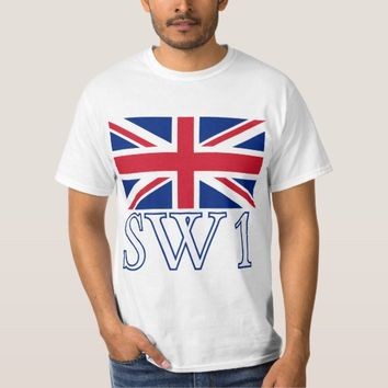 London Postcode SW1 with Union Jack T-Shirt