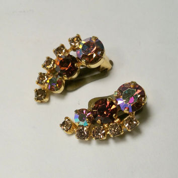 Vintage Rhinestone Earrings Triad Aurora Rhinestone Clip Earrings Beautiful Brilliant Colorful Sparkling Costume Fashion Earrings 1950s