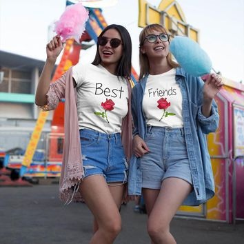 Women Best Friend Letters Rose Printed T Shirts Causal Tops casual bff t-shirts for female outfits funny sisters tshirt femme