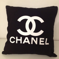 Black and White Chanel Ispired Pillow Logo