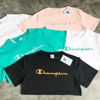 Champion New Fashion Fresh Colorful Simple Women Men Embroidery Tee Shirt Top Five Color