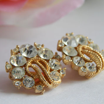 Gorgeous Crown Trifari Rope Twist Clip on Earrings with Clear Rhinestones - Trifari Jewelry - Trifari Rhinestone Earrings - Crown Trifari