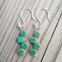 Green Honeycomb Earrings in Sterling Silver