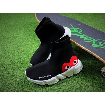 Balenciaga x CDG Play Speed Trainer Mid Black Sneakers Stretch Knit Socks Shoes - Best Deal Online