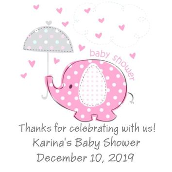 Pink Baby Elephant Baby Shower Stickers