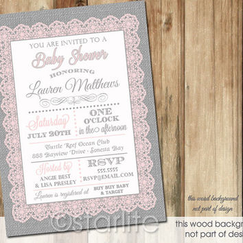 Pink Gray Typography Lace Burlap - Baby Shower Invitation - 5x7 - Baby Girl - PRINTABLE INVITATION DESIGN
