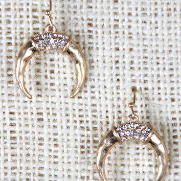 Crescent Rhinestones Dangle Earring