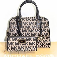 Michael Kors MK Signature Large Satchel Shoulder Bag Purse & Wallet Set NWT