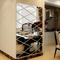 Modern Fashion DIY 3D Stickers Mirror Sticker Home Livingroom Decoration Alloy Acrylic Mirror Luxury