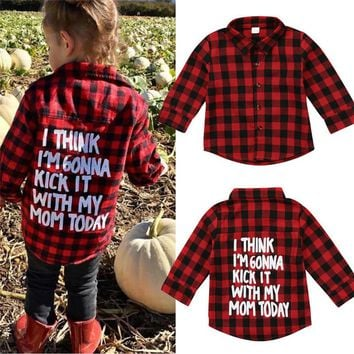 Kids Baby Boys Girls Clothes Plaid Long Sleeve letter print Button Tops Toddler turn-down collar cotton T-shirts one pieces