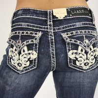 LA IDOL BELLE FLEUR THICK WHITE LEATHER STITCH DARK DENIM BOOT CUT JEANS SZ 0-15