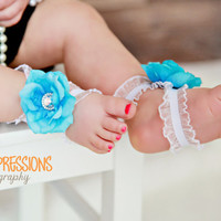 Barefoot Baby Sandals  Infant Sandals  Teal by BabyliciousDivas