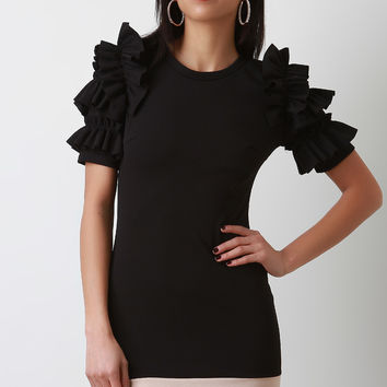 Colorblock Tiered Ruffled Sleeve Dress | UrbanOG
