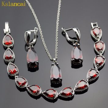 Lan Classic Choker Water Drop Shaped Jewelry Sets Red Garnet  AAA Zircon For Necklace Pendant /Earring /Bracelet  Free Shipping