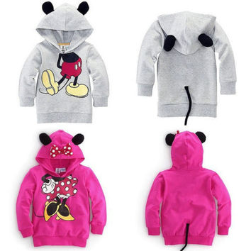 2014 NEW autumn Baby Girls Boys 3D Mouse Minnie Hoodie Tops Sweatshirt Outwear child's clothing