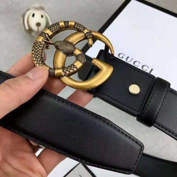 GUCCI new snake-shaped buckle simple retro wild smooth buckle belt