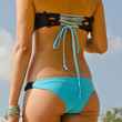 Turquoise and Black Peek-a-Boob Bandeau TOP-