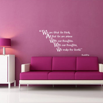 Housewares Buddha Quote We Make The World Wall Vinyl Decal Sticker Art Interior Home Decor Room Mural V243