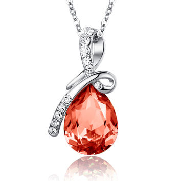 Eternal Love Teardrop Swarovski Elements Crystal Pendant Necklace - Orange