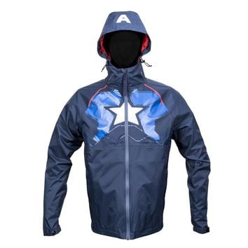 Marvel Captain America Zip Raincoat Hooded Jacket