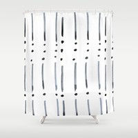 black and white dots and dashes boho modern Shower Curtain by Jennifer Rizzo Design Company