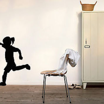 CHILD GIRL PLAYING FOOTBALL SOCCER  WALL VINYL STICKER  DECALS ART MURAL B311