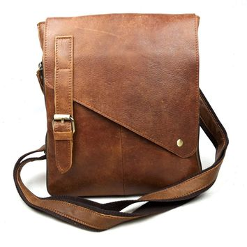 Vintage Cool genuine leather messenger  men bag