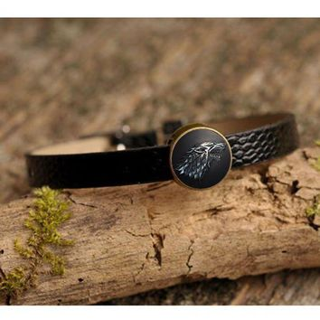 MDIGHY9 Movie Charm Bracelet Game of Thrones Stark Wolf Glass Cabochon Art Picture Fashion Jewelry Black Leather bracelet for Women