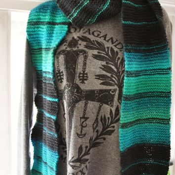 Teal and Black Striped Wool Knit Scarf Extra Long, Wide and Soft! Greens, Blues, Cool Ombre Effect