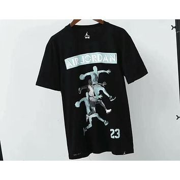 NIKE AIR Jordan cotton breathable male trend basketball T-shirt F-A-BM-YSHY Black