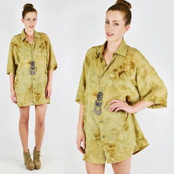vtg 90s 70s boho hippie ethnic india EMBROIDERED TIE-DIE slouchy oversized button up tunic shirt top S M L
