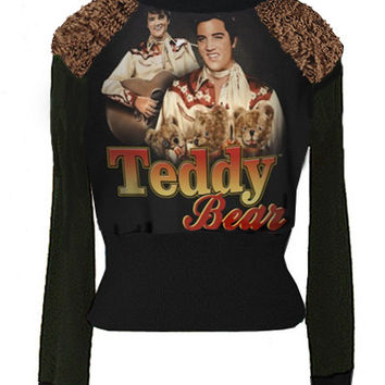 Elvis Presley Teddy Bear Minky Fur Accents Turtleneck Sweater