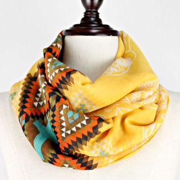 Funky Skull Polyester Infinity Womens Scarf Orange