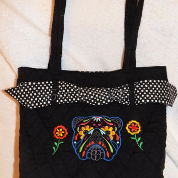 Embroidered Sugar Skull English Bulldog Quilted Bag